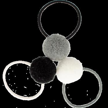Your Little Miss Setje van 3 kleine elastiekjes met pompom moon