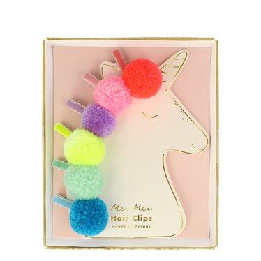 Meri Meri Setje haarspeldjes met pompom unicorn van Meri Meri