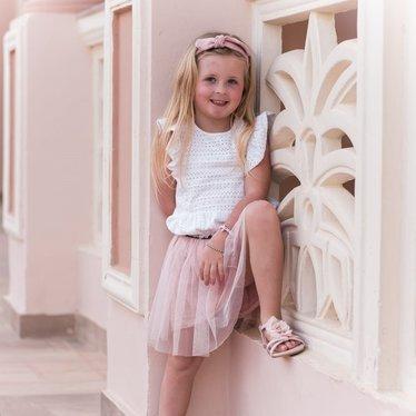 Your Little Miss Haarbandje met knoop soft pink voor meisjes