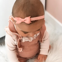 Your Little Miss Peach newborn baby haarbandje kant met strik