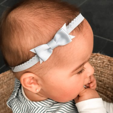 Your Little Miss Lichtblauw newborn baby haarbandje kant met strik