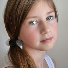 Your Little Miss Basic haarelastiekjes met pompoms - moon