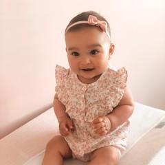 Your Little Miss Baby haarbandje met dubbele strik dusty rose