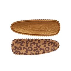 Your Little Miss Setje meisjes haarspeldjes leopard leather
