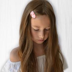 Your Little Miss Haarspelden met stof - cherry