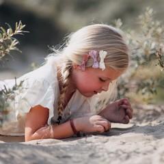 Your Little Miss Setje haarspeldjes met strik earth tones
