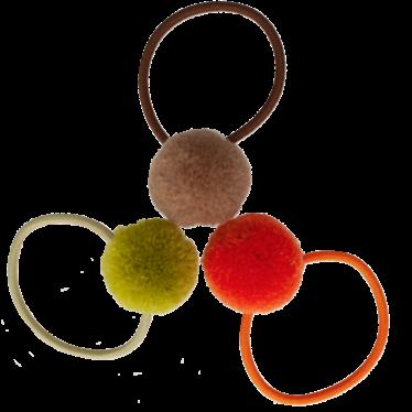 Your Little Miss Setje van 3 kleine elastiekjes met pompom autumn