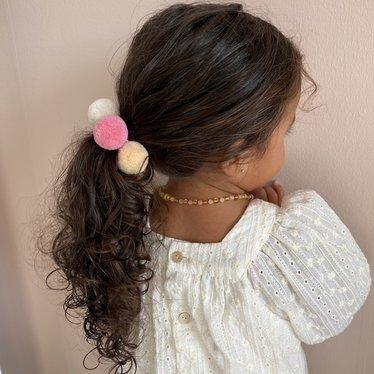 Your Little Miss Setje van 3 grote elastiekjes met pompom lollipop