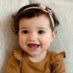 Your Little Miss Baby haarbandje met strik vanilla & sparkle