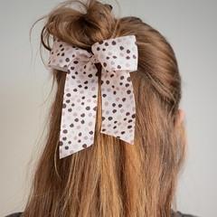 Your Little Miss Haarelastiek met grote strik - pink dots