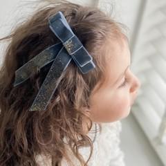 Your Little Miss Haarspeld met dubbele lange strik - ocean velvet sparkle