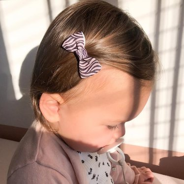 Your Little Miss Baby haarspeldje pink/grey zebra