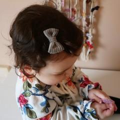 Your Little Miss Baby haarspeldje met strikje - gray rib