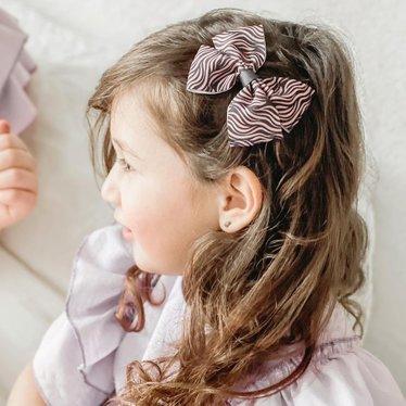 Your Little Miss Haarspeldje met strik large zebra pink/grey