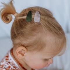Your Little Miss Baby haarspeldjes met stof - neutral check