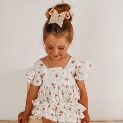 Your Little Miss Haarelastiek met grote strik - nude linen