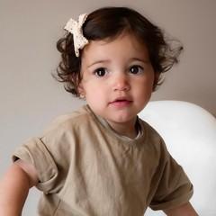 Your Little Miss Baby haarspeldje met dubbele strik - cream lace