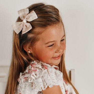 Your Little Miss Haarspeldje met strik large neutral check