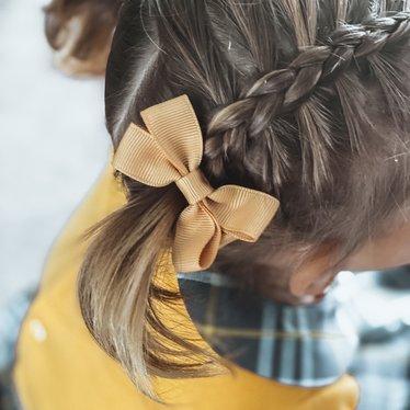 Your Little Miss Haarspeldje met strik medium pale gold