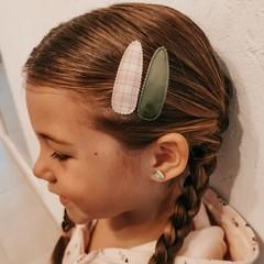 Your Little Miss Haarspelden met stof - neutral check