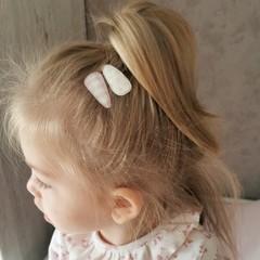 Your Little Miss Baby haarspeldjes met stof - nude check