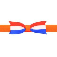 Your Little Miss Baby haarbandje met strik - Koningsdag oranje met rood wit blauw