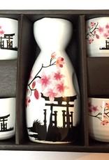 Japanese sake set of tori in spring