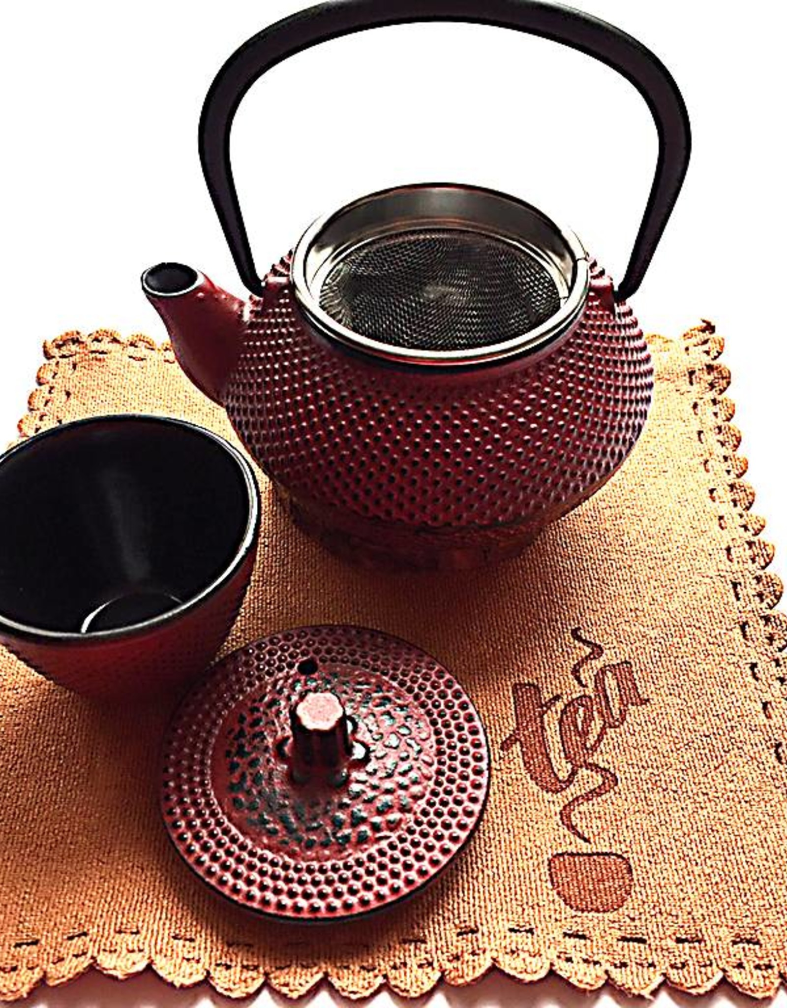 Cast iron teapot set red (one person)