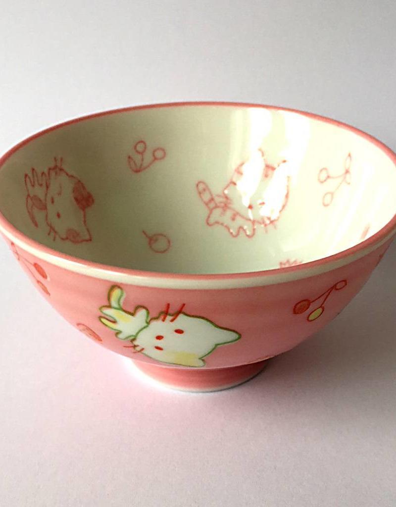 Rice bowl Kawaii cat pink