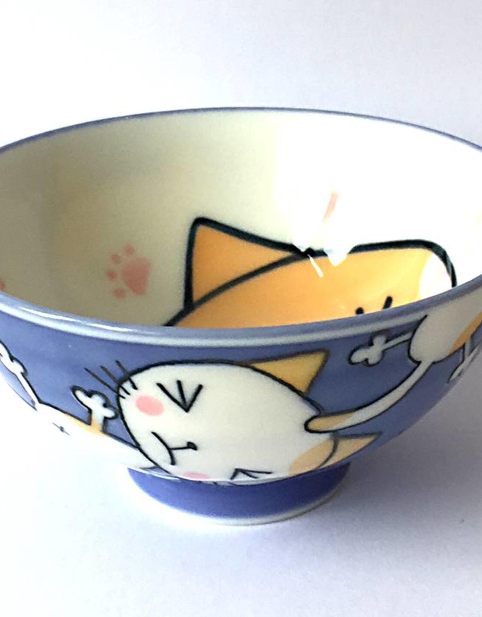 Rice bowl Kawaii cat blue