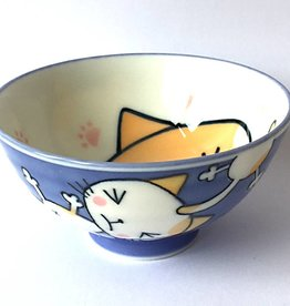 Rice bowl Kawaii cat blue
