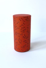 Japanese tea tin with red washi paper and black dragonflies