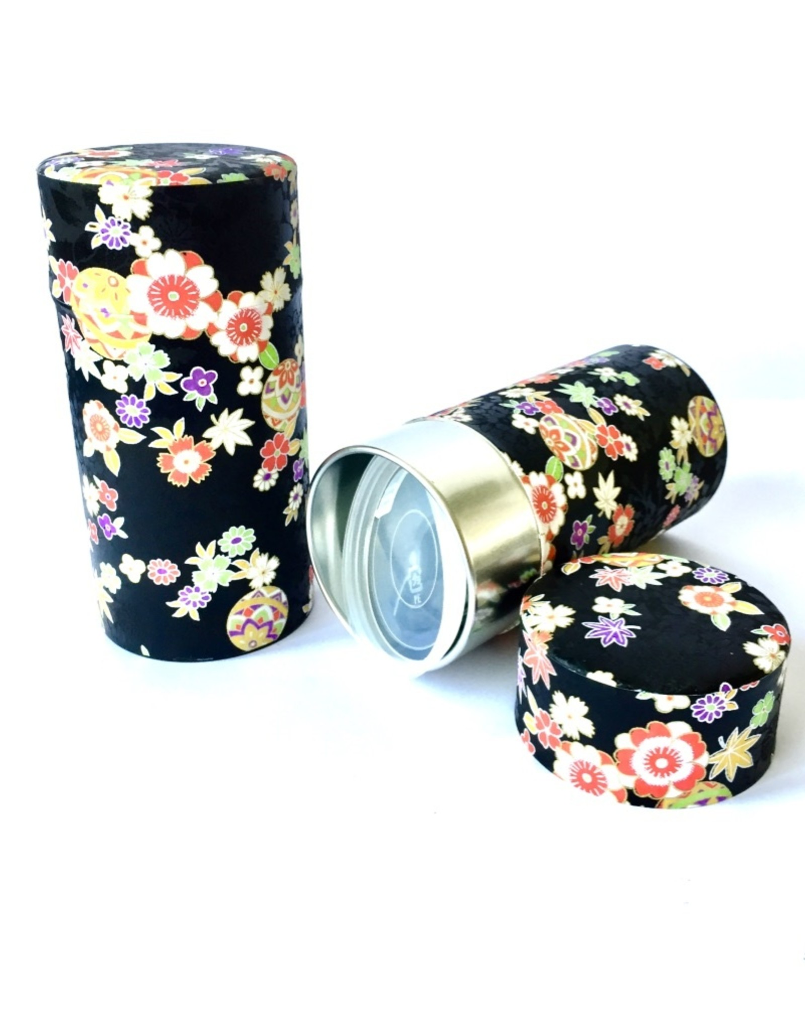 Japanese tea canister with washi paper black with flowers