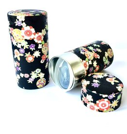 Japanese tea tin with washi paper black with flowers