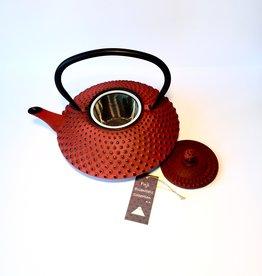 Fuji essentials collection Rode gietijzeren theepot met noppen (1,20 ltr)