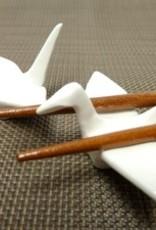 Crane white chopsticks coaster (2 pieces)