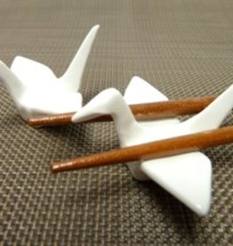 Crane bird white chopsticks rest (pair)