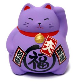 Maneki Neko piggy bank purple