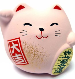 Maneki Neko (lucky cat)  roze, klein