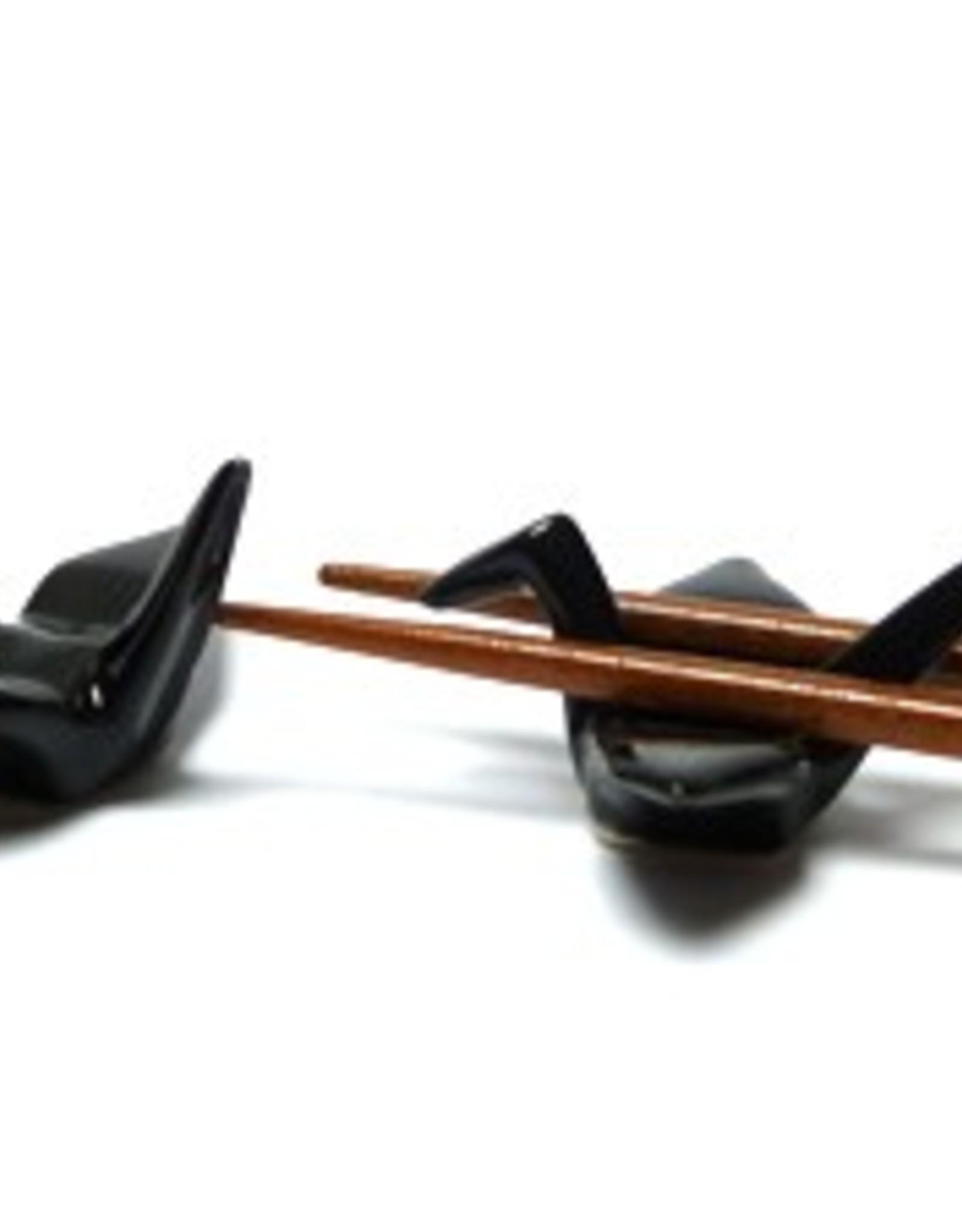 Crane (zwart) eetstokjes onderzetter (2 stuks)