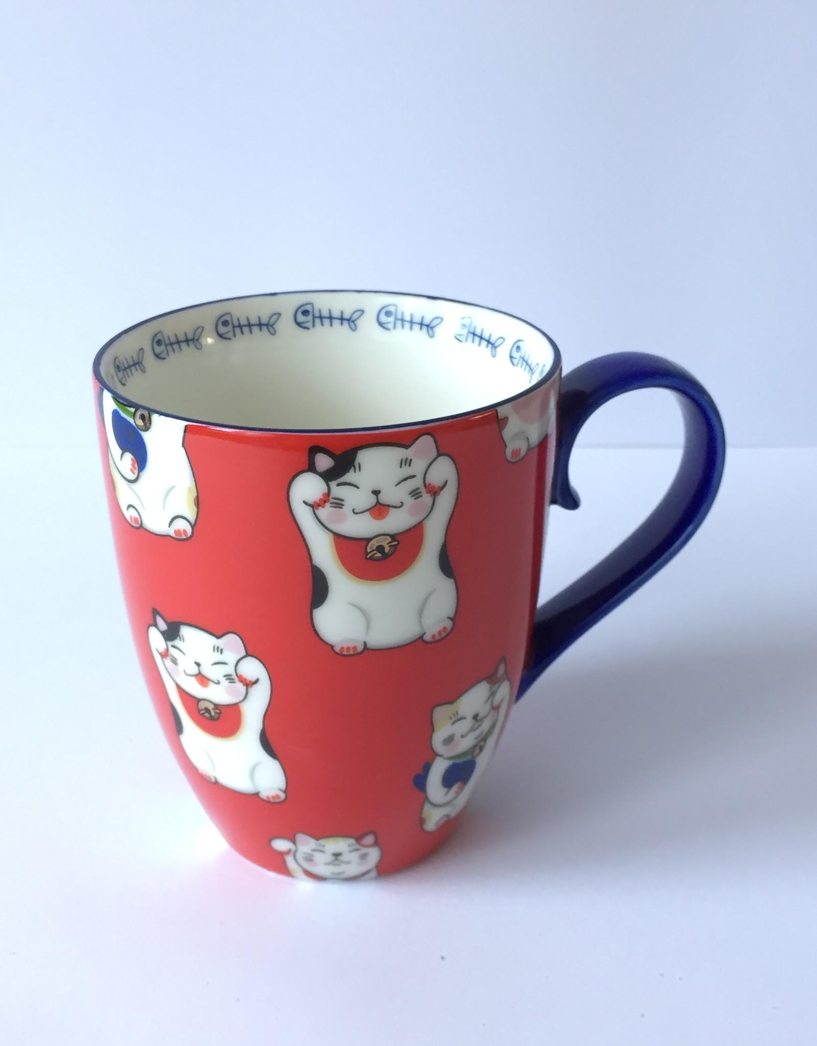 Tokyo Design Studio Kawaii Lucky Cat kopje in geschenkdoos (Rood)