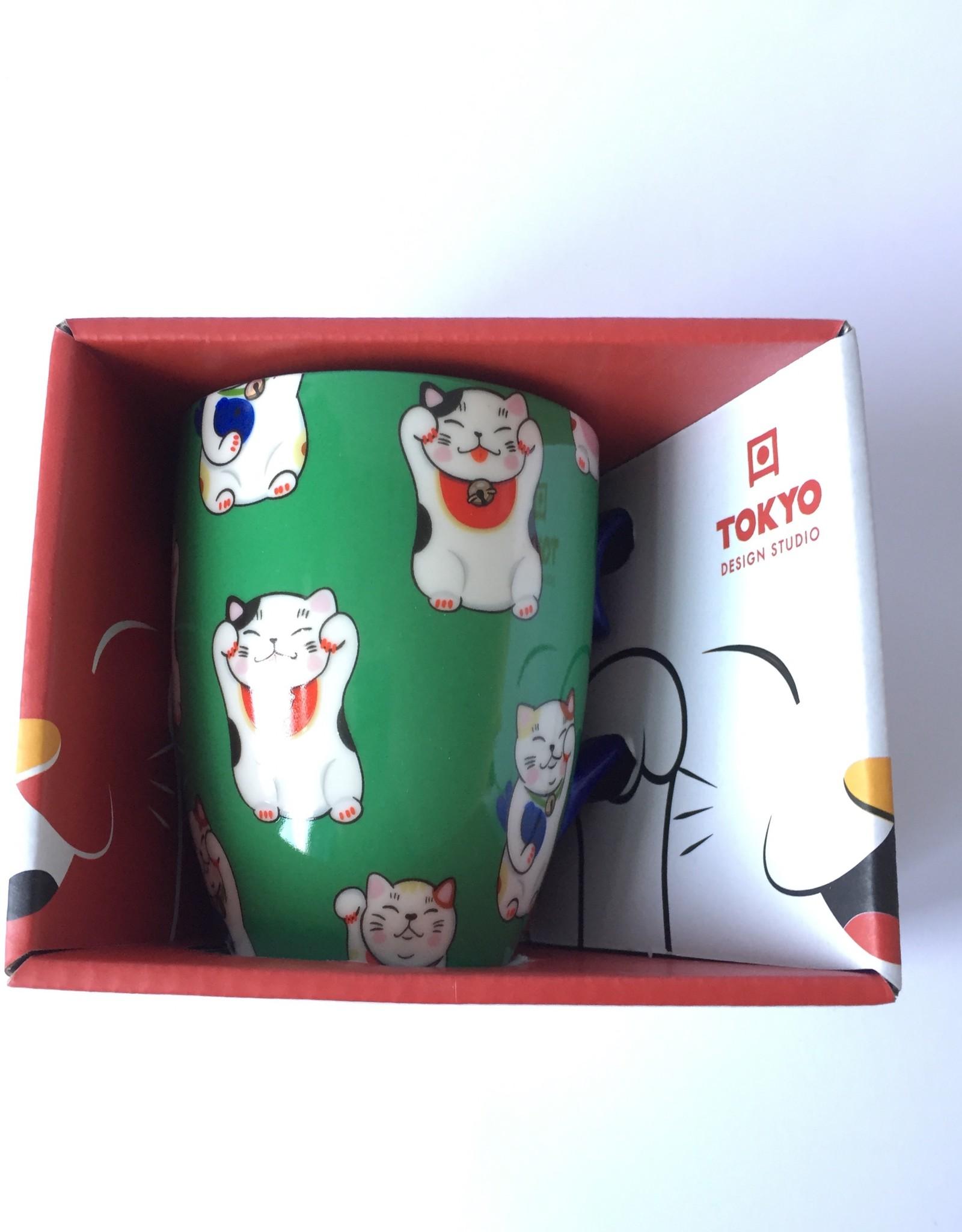 Tokyo Design Studio Kawaii Lucky Cat kopje in geschenkdoos ( Groen)