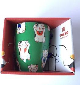 Tokyo Design Studio Kawaii Lucky Cat kopje in geschenkdoos (Groen)