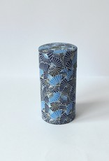 Japanese tea tin washi paper blue fans