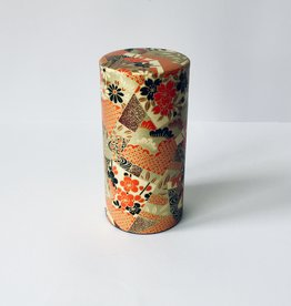 Japanese tea tin washi paper gold
