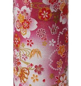 Japanese tea tin with pink washi paper and sakura