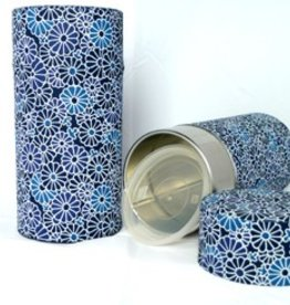 Japanese tea tin flowers