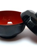 Miso soup bowl black red large