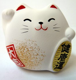 Maneki Neko (gelukskat)  wit, klein