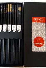 Tokyo Design Studio Japanse zwarte luxe chopsticks in geschenkdoos
